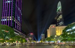 Night view on pedestrian street with wide path along the skyscrapers many lights. Ho Chi Minh City, Vietnam - December 21st, 2017: Night view on pedestrian Royalty Free Stock Photo