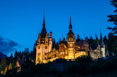 Night view of Peles castle - Romania landmark Stock Images