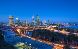 Night View of Perth Skyline from Kings Park Stock Images