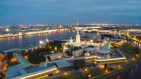 Night view of the Peter and Paul Fortress Hare Island and the city of St. Petersburg.  stock footage