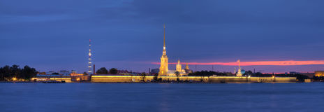 Night view on the Peter and Paul Fortress. Night panoramic view on the illuminated Peter and Paul Fortress and Neva River, St. Petersburg, Russia Stock Photography