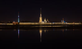 Night view of Peter and Paul Fortress Stock Images