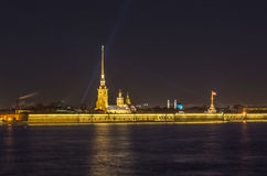 Night view on Peter and Paul fortress in Saint-Petersburg Stock Photos