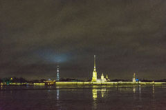 Night view of Peter and Paul fortress, Saint Petersburg, Russia. Stock Photos