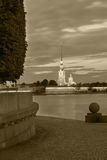 Night view of the Peter and Paul Fortress, St. Petersburg , black-and-white image Stock Image