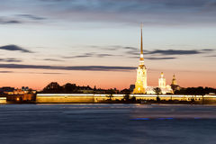 Night view of the Peter and Paul Fortress, St. Petersburg Royalty Free Stock Photo