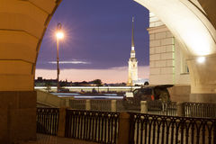Night view of the Peter and Paul Fortress, St. Petersburg stock image