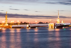 Night view of the Peter and Paul Fortress, St. Petersburg Stock Photos