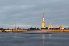 Night view of the Peter and Paul Fortress, St. Petersburg Royalty Free Stock Photography