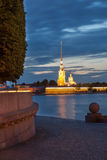 Night view of the Peter and Paul Fortress, St. Petersburg Royalty Free Stock Photos