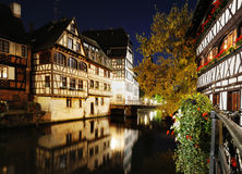 Night view of Petit France. Area in Strasbourg in summer stock image