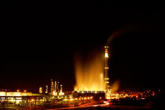 Night view of a petrochemical refinery Stock Photography