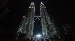 Night view of Petronas Towers, Kuala Lumpur Royalty Free Stock Photography