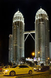 Night view of The Petronas Twin Towers Royalty Free Stock Photo