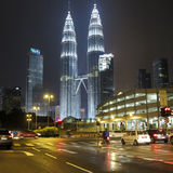 He night view of the Petronas Twin Towers at KLCC City Center Stock Image