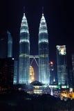 Night view of Petronas Twin Towers, Kuala Lumpur Stock Images