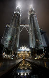 Night view of the Petronas Twin Towers in Malaysia. Kuala Lumpur, Malaysia-December 30, 2010:in Petronas, Twin Towers, Tallest building in Asia, Kuala Lumpur royalty free stock images