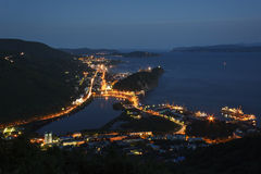 Night view of Petropavlovsk-Kamchatsky City, Avacha Bay and Pacific Ocean Stock Photography