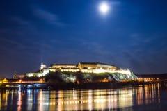 Night view on Petrovaradin fortress in Novi Sad, Serbia Royalty Free Stock Image