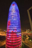 Night view of phallic-shaped Torre Agbar or Abbar Tower in Barcelona, Spain, designed by Jean Novel, September 2006 Stock Image