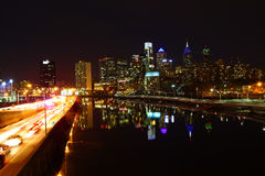 Night view of the Philadelphia City center Royalty Free Stock Photo