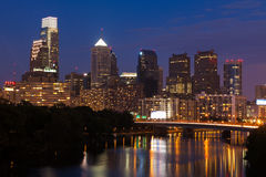 Night view of the Philadelphia skyline Stock Image
