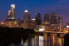 Night view of the Philadelphia skyline Stock Image