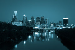 Night view of the Philadelphia skyline in pennsylvania Stock Image