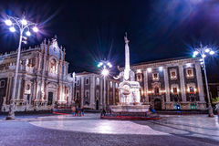Night view of the Piazza del Duomo in Catania, Sicily, Italy. Stock Photos