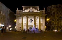 Night View of Piazza della Borsa in Trieste Stock Photography