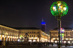 Night view of Piazza San Carlo in Turin, Italy Royalty Free Stock Image