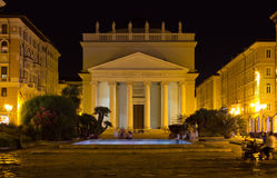 Night View of Piazza Sant Antonio in Trieste Royalty Free Stock Photo