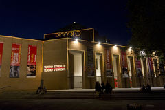 Night view of Piccolo Teatro in Milan Royalty Free Stock Photo