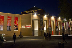 Night view of Piccolo Teatro in Milan, with person Royalty Free Stock Images