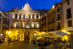 Night view of picturesque main square in Cuenca Stock Photos