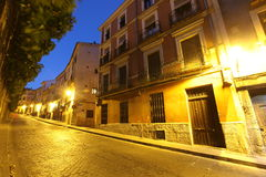 Night view of picturesque old square in Cuenca. Spain Stock Photos