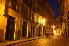 Night view of picturesque old street in Cuenca Stock Image