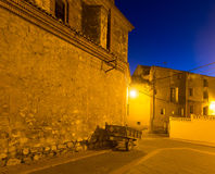 Night view of picturesque residence houses in Utrillas Royalty Free Stock Photo