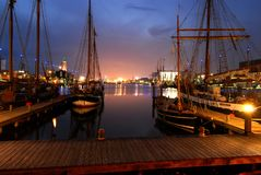 The night view from the pier of Bremerhaven, Germany royalty free stock photography