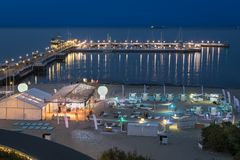 Night view of the pier at Sopot, Poland. Night view of the pier at Sopot, Baltic Sea, Poland royalty free stock images
