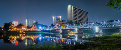 Night view Ping River Chiang Mai. Royalty Free Stock Images