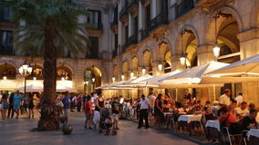 Night view of Placa Reial. Barcelona stock video