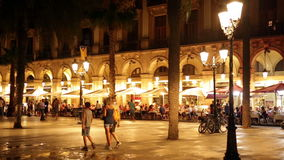 Night view of Placa Reial in july. Barcelona, Spain stock video footage