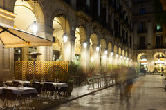 Night view of Placa Reial with restaurants in Barcelona Royalty Free Stock Images