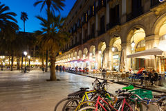 Night view of Placa Reial with restaurants in   Barcelona Stock Image