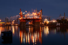 Night view of the platform. Oil rig under repair at the shipyard Royalty Free Stock Image