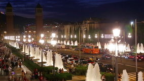 Night view of Plaza de Espana stock video