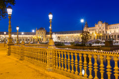 Night view of Plaza de Espana Royalty Free Stock Photos
