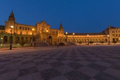 Night view of the Spanish square Plaza de Espana in Seville, Andalusia,Spain stock photo