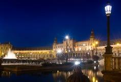 Night view of Plaza de Espana. Seville, Spain Stock Photo